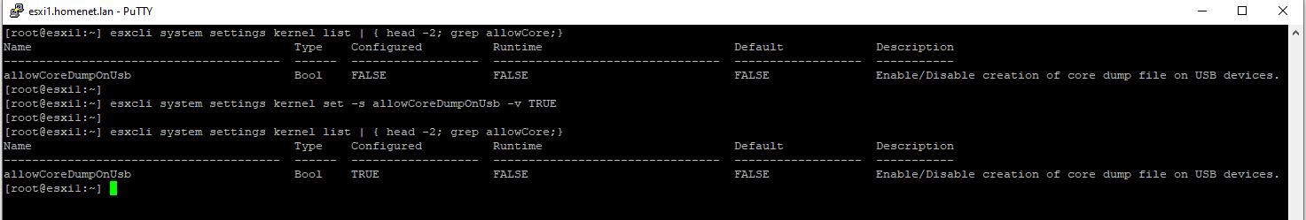esxcli system settings kernel set -s allowCoreDumpOnUsb -v TRUE